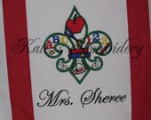 School Teacher Fleur de Lis Tote Bag - Personalized WHITE / Colors