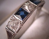 Antique Platinum Diamond Sapphire Wedding Ring Band Art Deco Vintage