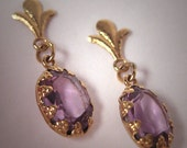 Estate Vintage Amethyst Earrings Victorian Drop Style