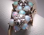 Antique Vintage Opal Diamond Ring Wedding Gold Band 5