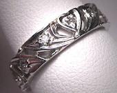 Antique Platinum Diamond Wedding Band Ring Vintage Deco