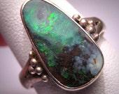 Vintage Australian Opal Ring Estate Sterling Silver