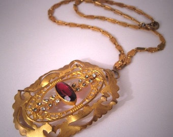 Antique Edwardian Garnet Paste Necklace Vintage Chain