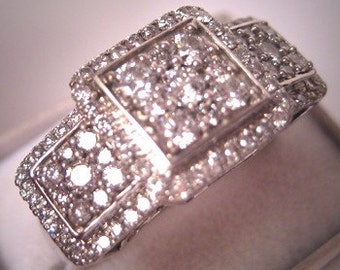 Estate Diamond Wedding Ring Vintage Deco Style 1.5ct  Band