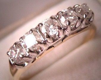Antique Diamond Wedding Band Ring Half Carat tw Vintage Art Deco