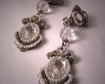 Fantastic Long Vintage Designer Signed Earrings Hand Beaded Crystal Bridal