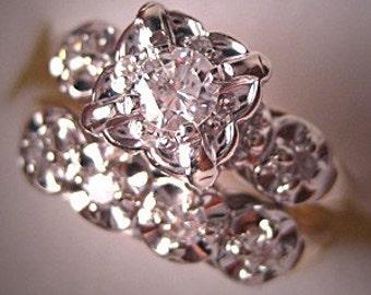 Antique Diamond Wedding Set Vintage Art Deco White Gold