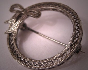 Antique Art Deco Pin Filigree Bow Brooch Vintage Bridal Jewelry