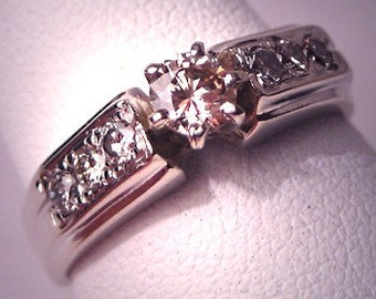 Vintage Diamond Wedding Ring White Gold Retro Art Deco