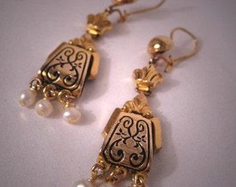 Antique Victorian Earrings Enamel Gold Pearl Vintage