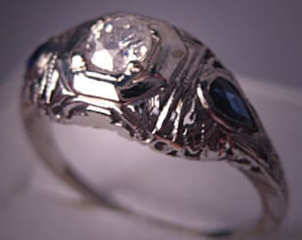 Antique Vintage Diamond Ring Art Deco Wedding Ring Sapphire 18K