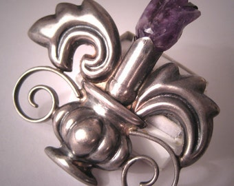 Important Early Taxco Mexican Silver Amethyst Brooch