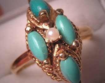 Antique Persian Turquoise Ring Gold Pearl Vintage Deco