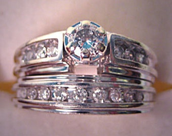 ON SALE!  This week ONLY! Vintage Diamond Wedding Ring Set Estate Engagement 1CT