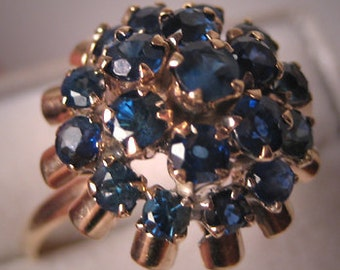 Estate Vintage Sapphire Ring - Wedding Ring 14K Gold Retro Deco
