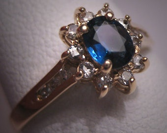 Vintage Royal Sapphire Diamond Wedding Ring Engagement