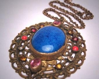 Antique Czech Lapis Paste Necklace Pendant Vintage Deco