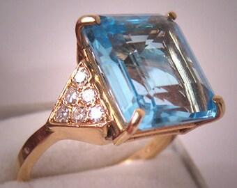 Estate Lg Blue Topaz Diamond Ring Vintage 14K Gold Deco