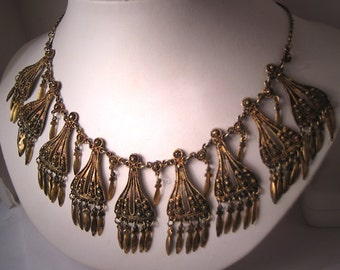Antique Victorian Cannetille Necklace Italian Gold Gilt