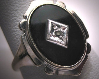 Antique Diamond Onyx Ring Vintage Art Deco White Gold