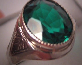 Antique Emerald Ring White Gold Deco Vintage Wedding
