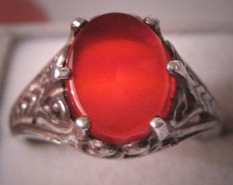 Antique Carnelian Ring Vintage Art Deco Filigree 1920