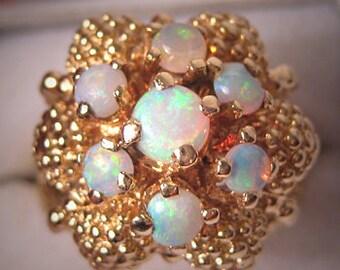 Antique Estate Australian Opal Ring Vintage Retro Deco