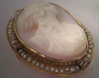 Antique Cameo Art Nouveau Coral Pearl Gold Pin Necklace