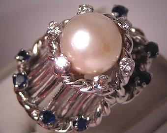 Superb Antique Vintage Diamond Pearl Sapphire Ring Deco