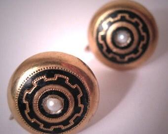 Antique Gold Victorian Earrings Enamel Etruscan Pearl