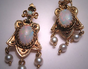 Antique Victorian Opal Earrings Vintage Etruscan Gold