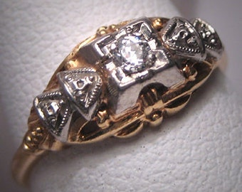 Antique Wedding Ring Vintage Diamond Palladium Art Deco