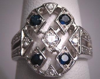 Vintage Wedding Ring Platinum Diamond Sapphire Art Deco