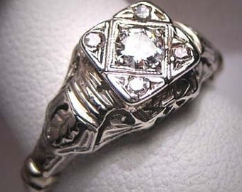 Antique Diamond Wedding Ring Vintage Art Deco Filigree