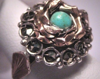 Antique Georgian Victorian Turquoise Gold Ring 1800s