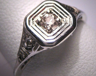 Antique Diamond Wedding Ring Art Deco Vintage W. Gold