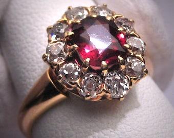 Antique Garnet Diamond Wedding Ring Vintage Victorian