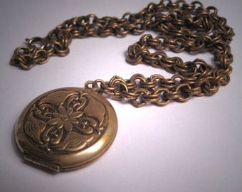 Vintage Arts and Crafts Motif Locket Chain Victorian