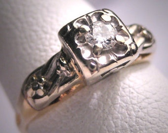Antique Diamond Wedding Ring Vintage Wht Gold Art Deco