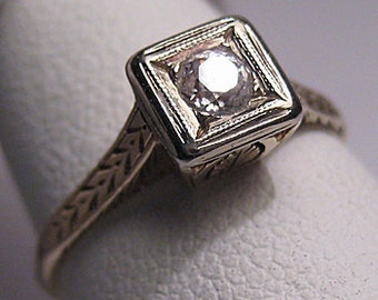 Antique Diamond Wedding Ring Vintage Art Deco Gold 14K