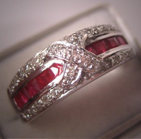 ON SALE 20% Off Vintage Diamond Ruby Wedding Band Ring Deco White Gold