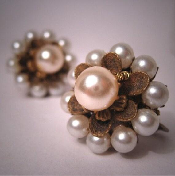Vintage Miriam Haskell Pearl Earrings c.1950 Bridal Jewelry