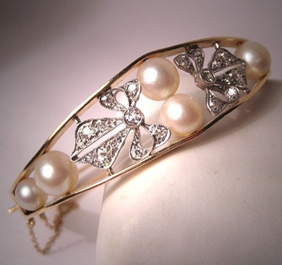 Superb Antique Diamond Pearl Platinum Bracelet Vintage