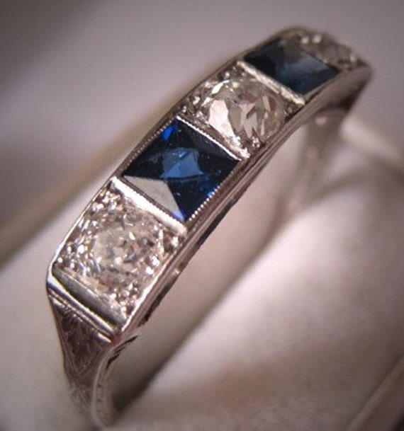 Antique Platinum Diamond Sapphire Wedding Ring Band Art Deco Vintage