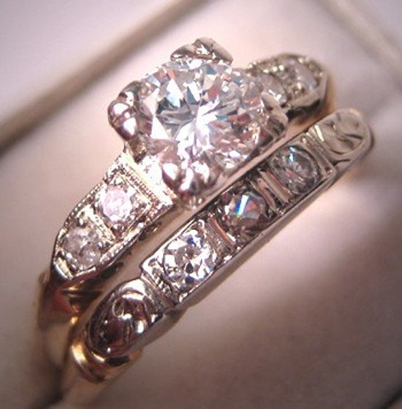 description a wonderful timeless antique wedding ring set - Vintage Wedding Ring Set