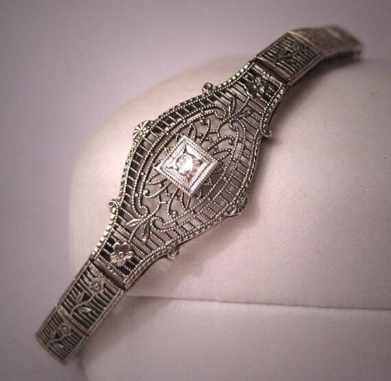 Antique Diamond Bracelet Vintage White Gold Filigree circa