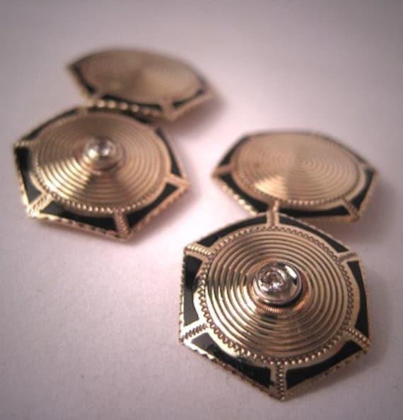 Antique Diamond Cufflinks Gold with Enamel Vintage Art Deco Era