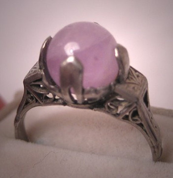 Antique Amethyst Ring Vintage Art Deco White Gold Filigree