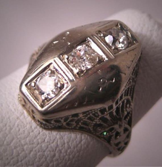Antique Diamond Wedding Ring 18K White Gold Vintage Art Deco