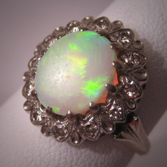 Antique Vintage Opal Diamond Ring Art Deco White Gold Wedding